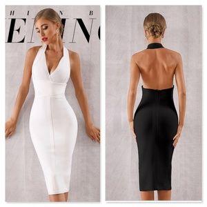 Bandage Halter Top V-Neck Slim Midi Dress Backless